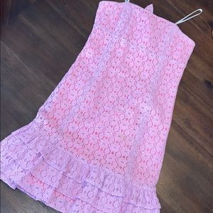 Lilly Pulitzer Purple Flower Lace Strapless Dress
